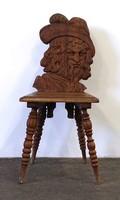 1D854 Antik faragott portré támlás egyedi csapolt szék