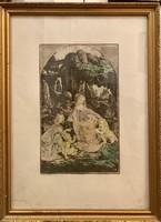 Da Vinci - Sziklás madonna. c. festményéről Prihoda István színezett rézkarca