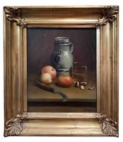 Leon Marchand (1858-1917): Asztali csendélet almával, gesztenyével 1876 France
