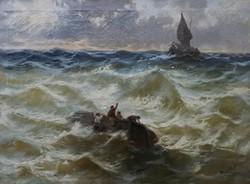 Hajótöröttek a viharos tengeren, olajfestmény