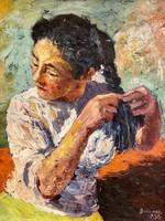 Berendi Ferenc / hair spinning lady / portrait 1958