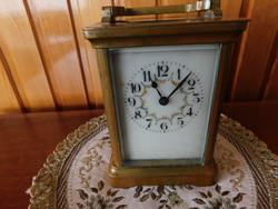 Antik angol utazó óra, asztali óra, 8 napos, hibátlan, eredeti szerkezet, hibátlan működés