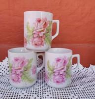 3 db Zsolnay rózsás bögre bögrék  Szép állapotban vannak, Gyűjtői darabok, nosztalgia
