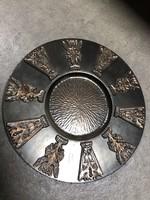 Eladó virágmintás bronz fali tál - M401