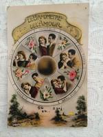 Antik, francia, romantikus kézzel színezett képeslap/üdvözlőlap 'A szerelem barométere' 1920