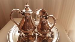 Antik 13 latos ezüst kávés kiöntő és tejszínes kiöntő szett