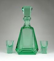 1C474 Antik art deco csiszolt zöld üveg pálinkás készlet Moser jellegű üveg
