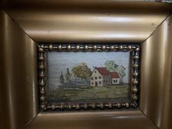 Tű Gobelin kép aranyozott keretben.25x25 cm