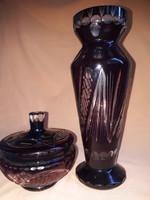 Bordó metszett üveg váza és bonbonier
