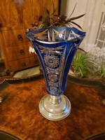 Antik gyönyörű ezüst talpas kék kristály váza!