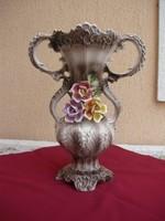 Nagyméretű duplafülű Capodimonte váza, padló váza, 42 cm!