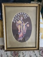  Tű Gobelin kép. Gyönyörű aranyozott keretben. 53cm x40cm  1930-as évekből 