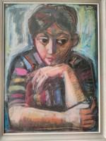 Józsa János festőművész  Kislány portré