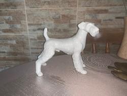 Ritka nagyméretű Hollóházi fehér porcelán foxterrier