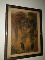 Antik, szignós katona-festmény, hagyatéki bélyegzővel, - 1 forintról, garanciával