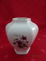Hollóházi porcelán, ibolya mintás váza, MÉH jelzéssel, magassága 9 cm.