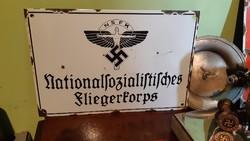 RITKA! Német, náci NSFK NAGY zománc tábla!
