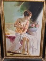 Vetkőző hölgy -impresszionista festmény