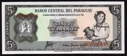 Paraguay 5 guarani UNC 1952