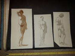 Borda János  3 db akt grafika, ceruzarajz, 1932-33, korának elismert ötvösművésze, ezüstművese