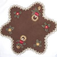 Karácsonyi csillag alakú hímzett terítő