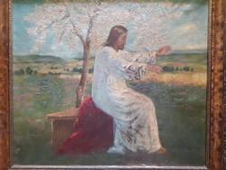 Bihari Emma: Jézus a virágzó fa alatt (régi, jelzett olaj-v.) keresztény, vallásos mű, Jézus-portré