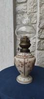 Gyönyörű festett színes üveg asztali petróleum lámpa,olaj làmpa
