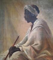 Fried Pál afrikai férfi olaj festménye