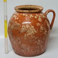 Fröcskölt, mázfoltos, barna mázas, nagy népi kerámia szilke (1627)