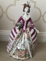 30 cm-s, Hollóházi Barokk ruhás nő cicával