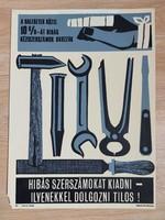 Retro munkavédelmi tábla régi plexi plakát