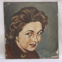 Festmény portré, nő frizura , festmény kartonon