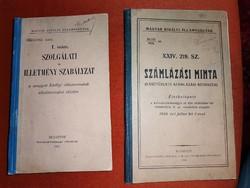 Magyar Királyi Államvasutak szolgálati és illetmény szabályzata 2 db könyv
