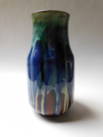Városlődi retro kerámia váza csurgatott mázzal 20 cm