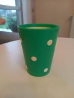 Retro pöttyös műanyag fogmosó pohár