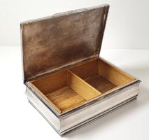 Pénzverdés ezüstözött alpakka kártyadoboz / munkásőr relikvia