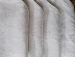 4 db antik damaszt konyharuha szalvéta törlő S monogram 59 x 56 cm