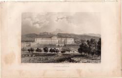 Schönbrunn, kastély, acélmetszet 1840, eredeti, 9 x 15, metszet, monarchia, Ausztria, Bécs, barokk