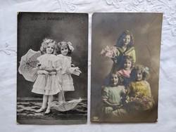 2 db antik, kézzel színezett fotó/képeslap, kislányok, esernyő, virágok, fodros ruha, 1910-es évek