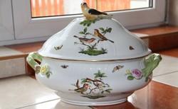 Herendi Rothschild 12 személyes madárfogós leveses tál