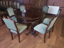 Neobarokk Asztal + 6 db szék