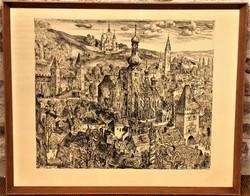 Szabó Vladimir (1905 - 1991) Műemlékek Kőszegen c rézkarca 78x62cm EREDETI GARANCIÁVAL !!