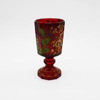 Nagy méretű bieder kézzel festett rubin üveg pohár - M417