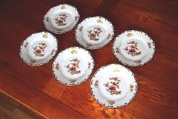 Zsolnay paradicsommadaras süteményes tányér 6 db