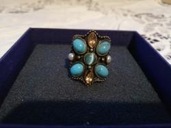 Eladó antikolt kék köves réz gyűrű!