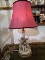 Antik puttós porcelán asztali lámpa