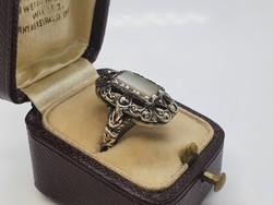 Antik Ezüst Gyűrű Kagyló Berakással