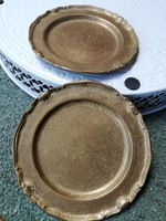 2 db díszes kis bronz-réz? kistálca