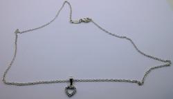 Ezüstlánc cirkónia köves szív függővel 925-ös