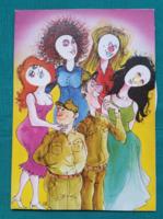 Grafika:Cakó Ferenc,vicces,kinyithatós,tekerhetős katonai képeslap,postatiszta